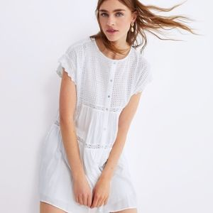 ZARA White Embroidered Mini Dress
